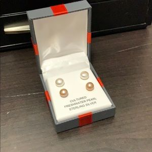 Sterling Silver Pearl Earrings Set